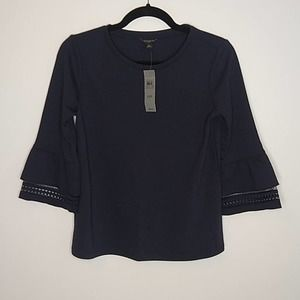 NWT Ann Taylor Navy Top Crochet Sleeve XSP